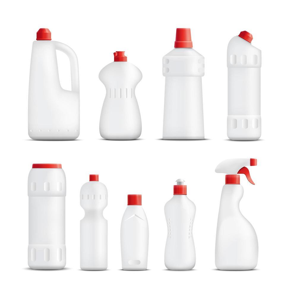 set van realistische schoonmaakproducten verpakking vector