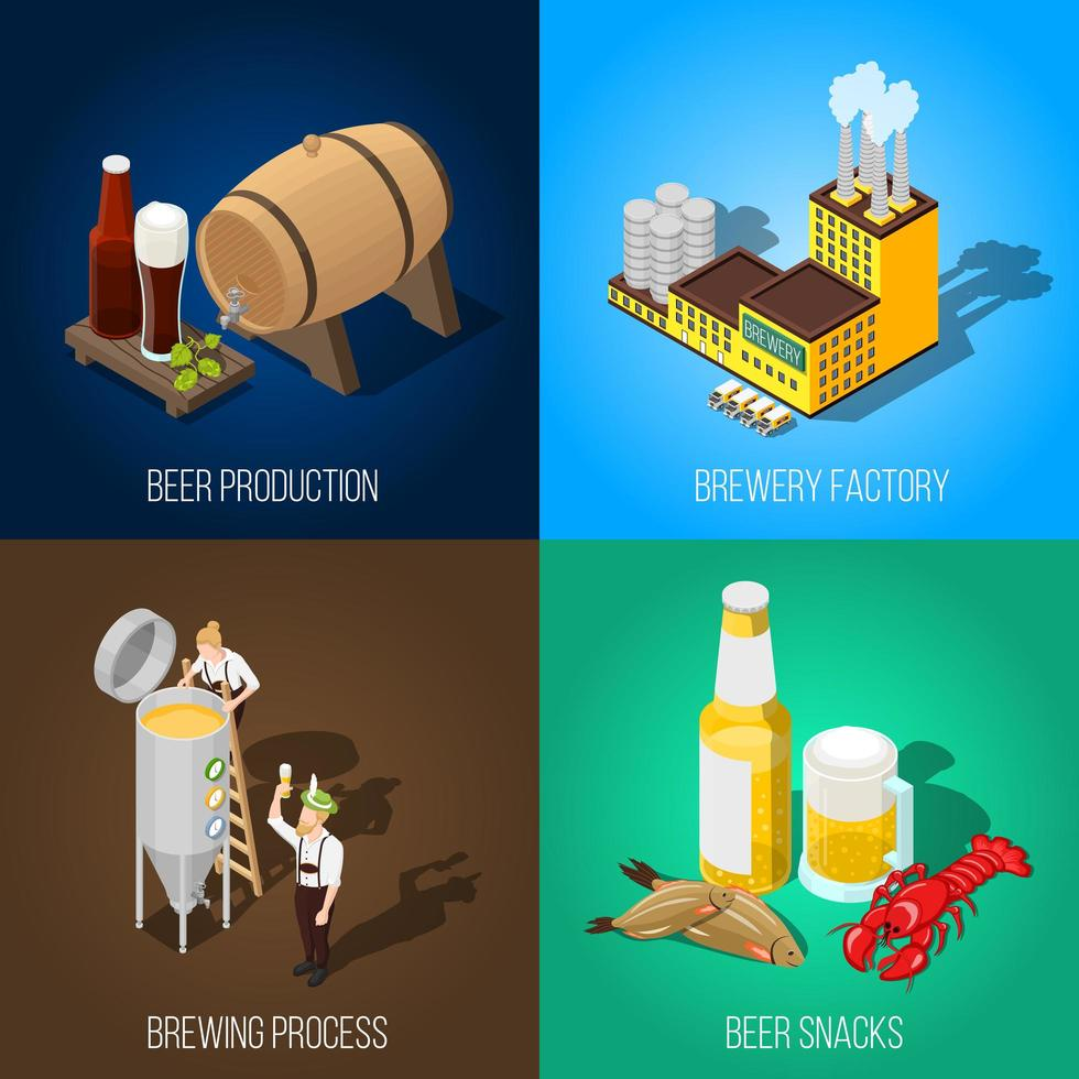 isometrische bierindustrie icon set vector