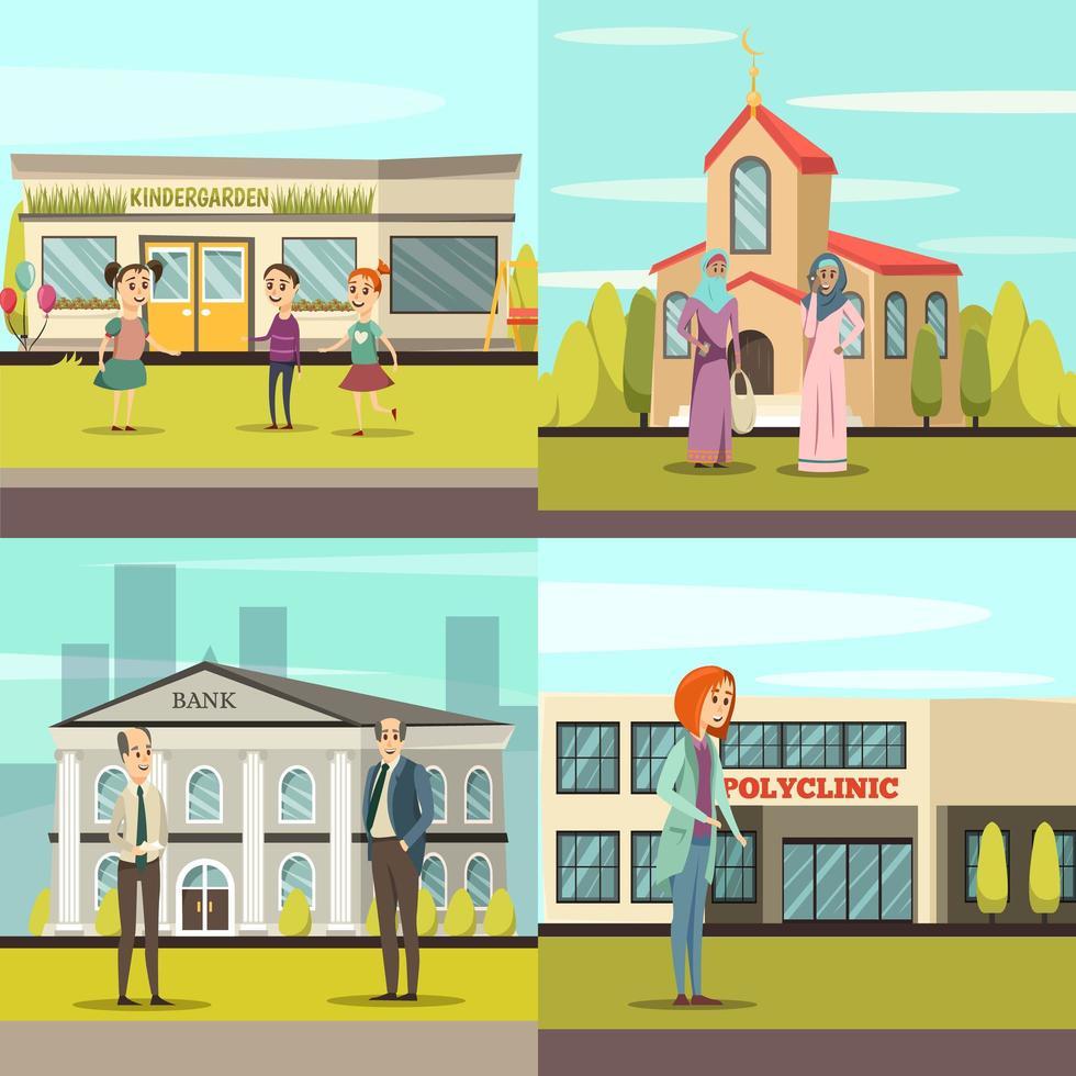 mensen voor gemeentelijke gebouwen ingesteld vector