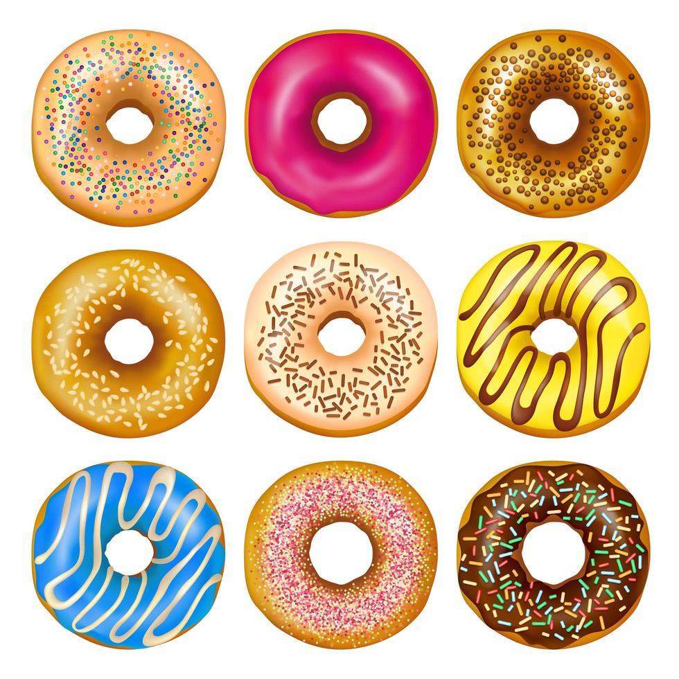 set van realistische donuts vector