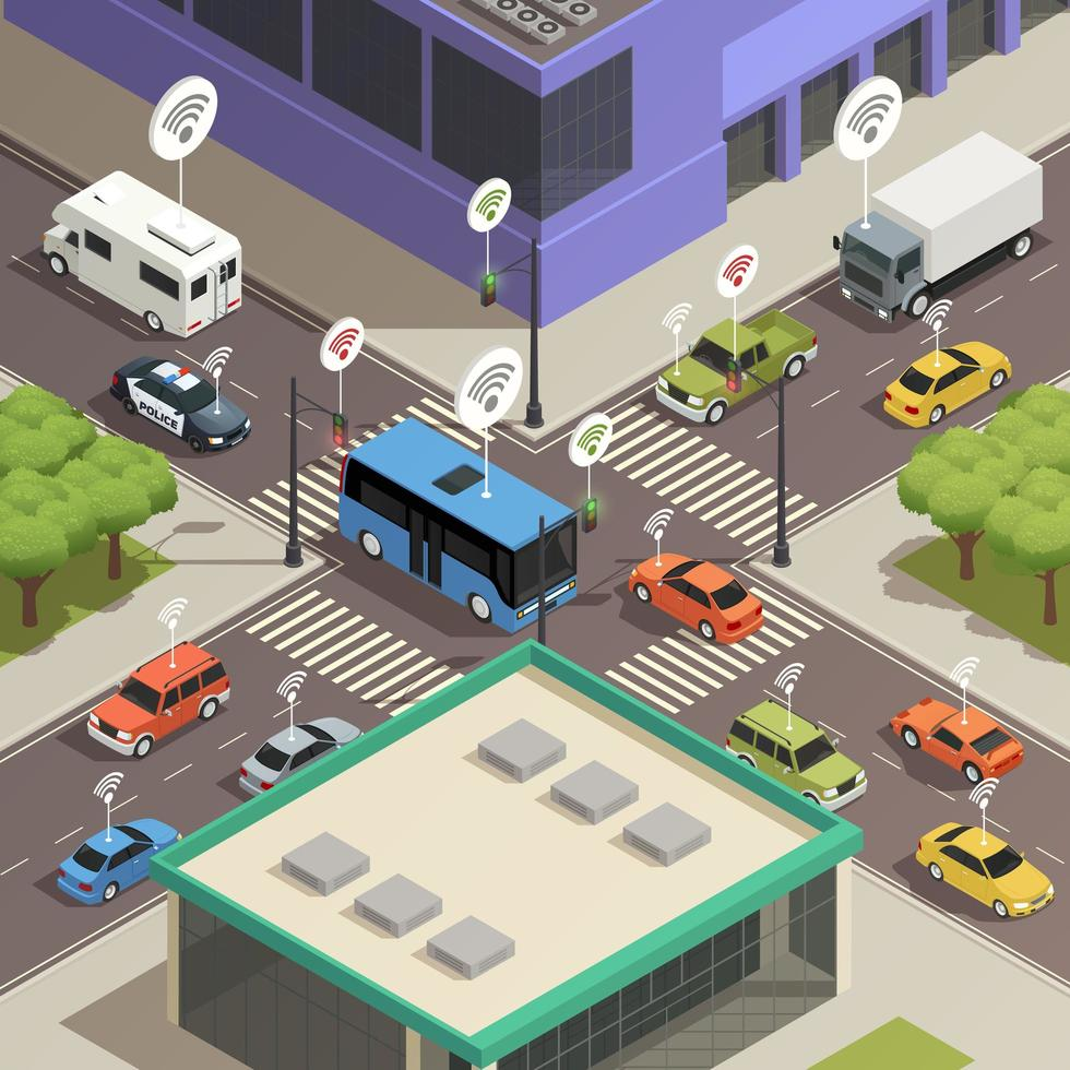 isometrische slimme stadstechnologie vector