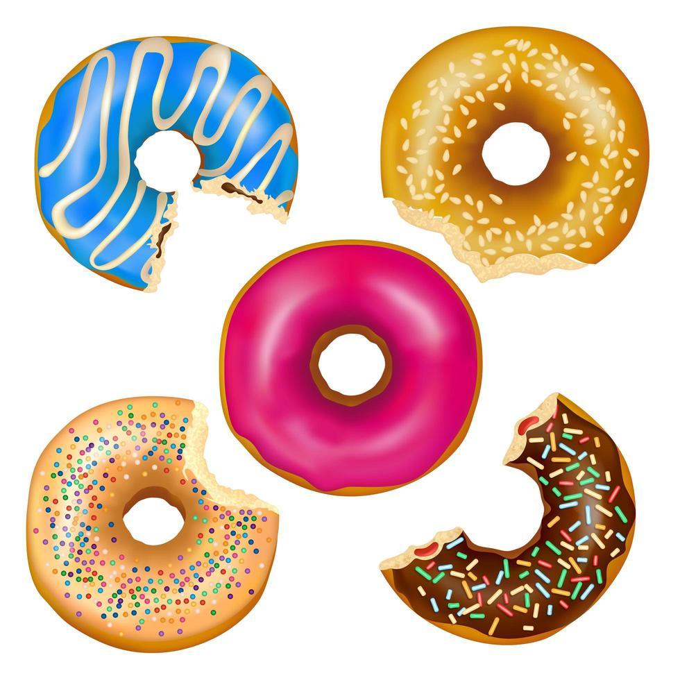 set van realistische gegeten donuts vector