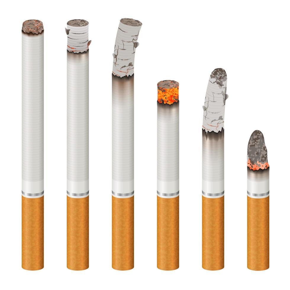 set van realistische sigaretten branden vector