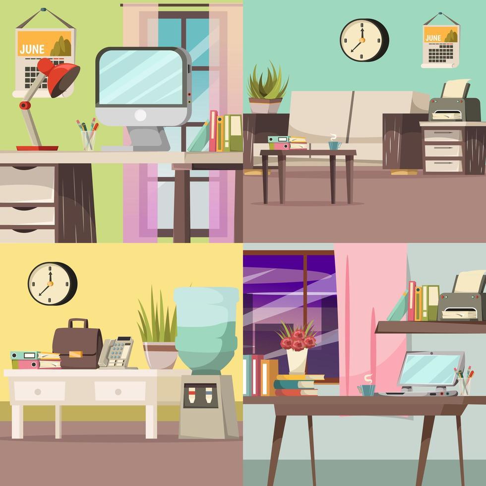 kantoor en werkruimte achtergrond set vector
