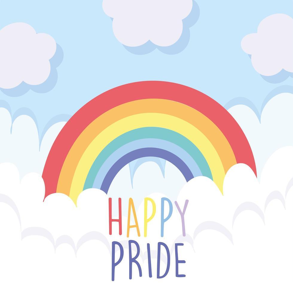lgbti-regenboog met wolken van gelukkige trots vector
