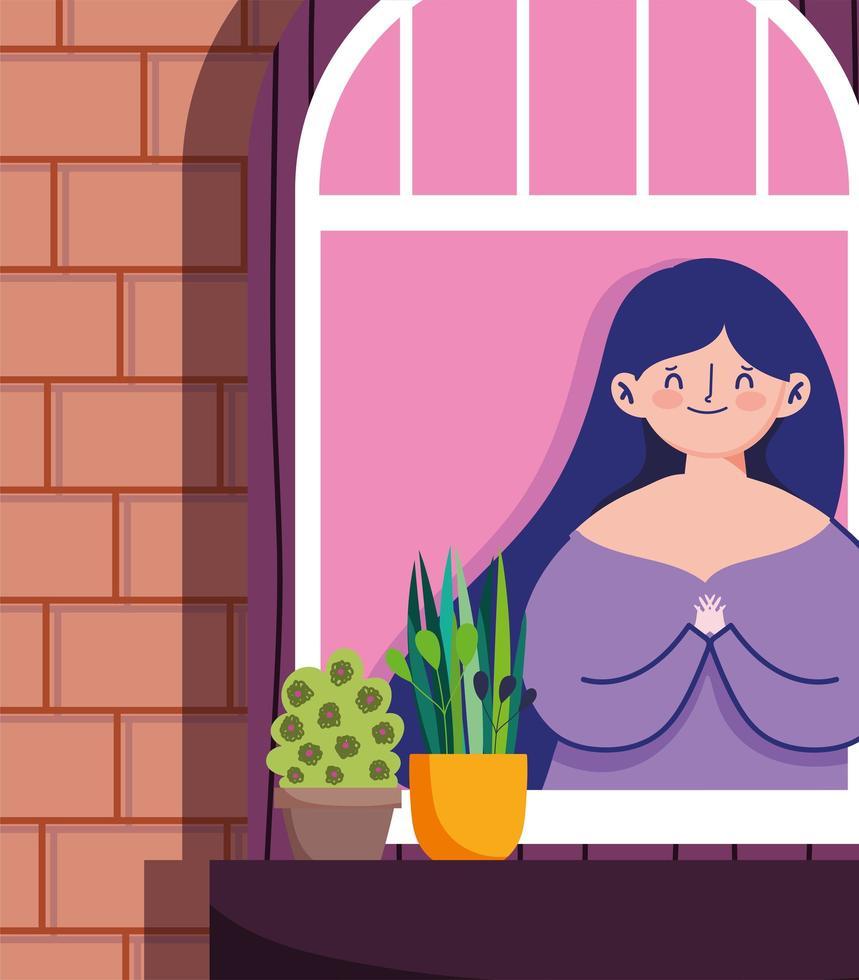 vrouw kijken naar het raam met potplant vector