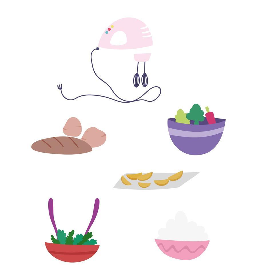 elektrische mixer, brood, groenten, salade en kom vector