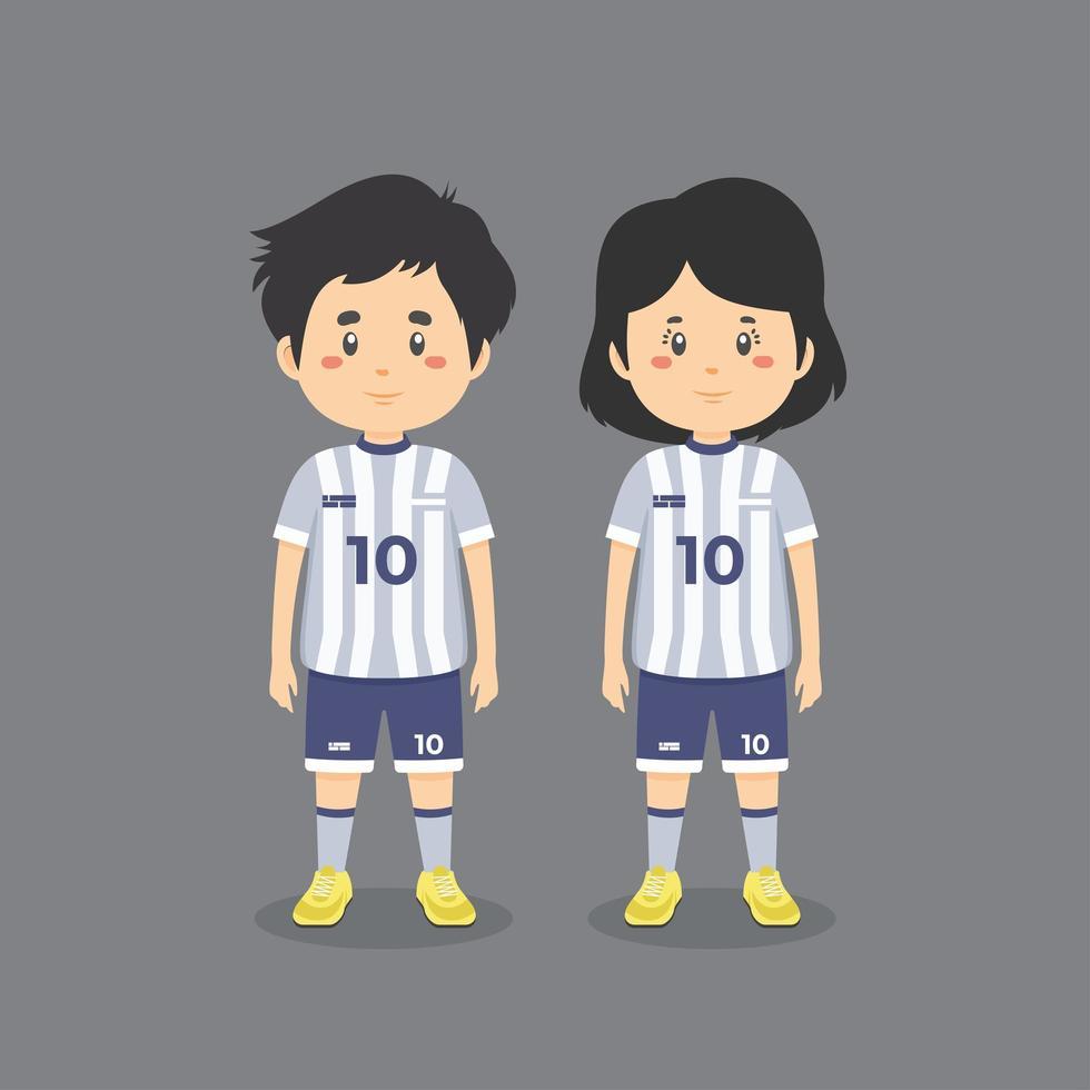 jongen en meisje die voetbaluitrusting dragen vector