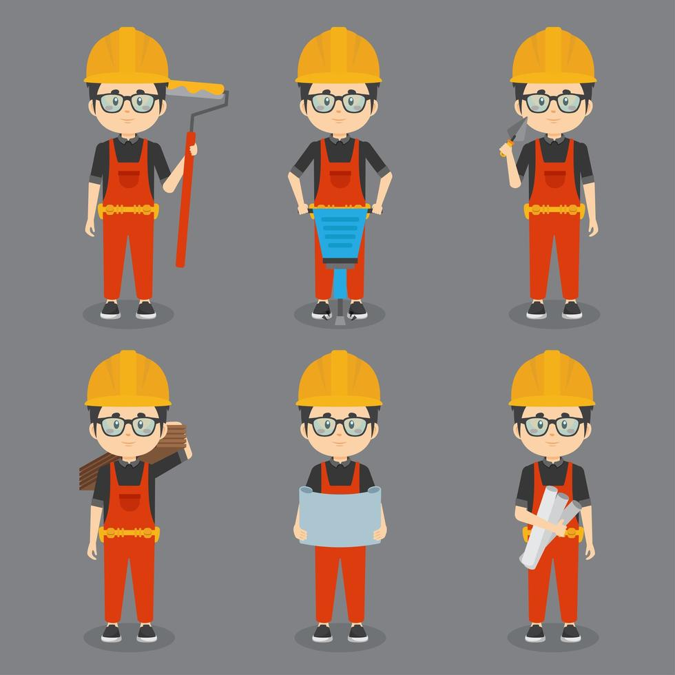 jongen bouwvakkers met verschillende activiteiten vector