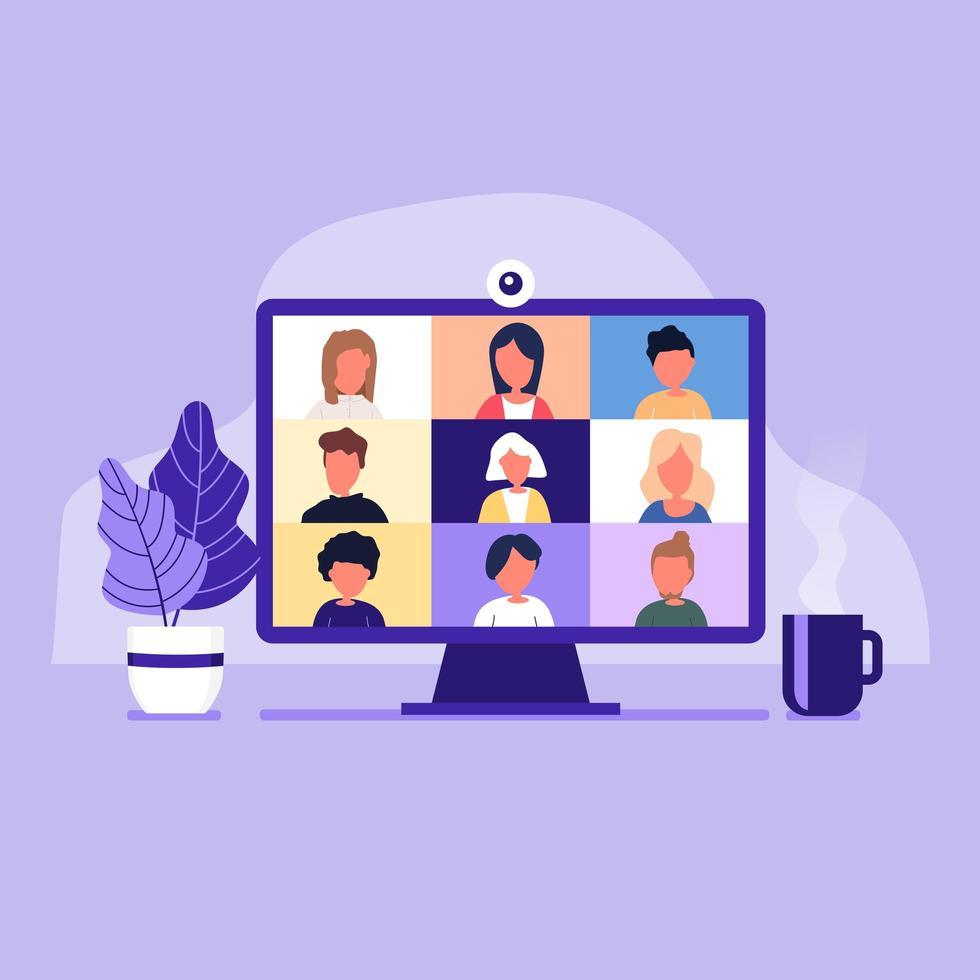 collega's praten met elkaar op het computerscherm vector