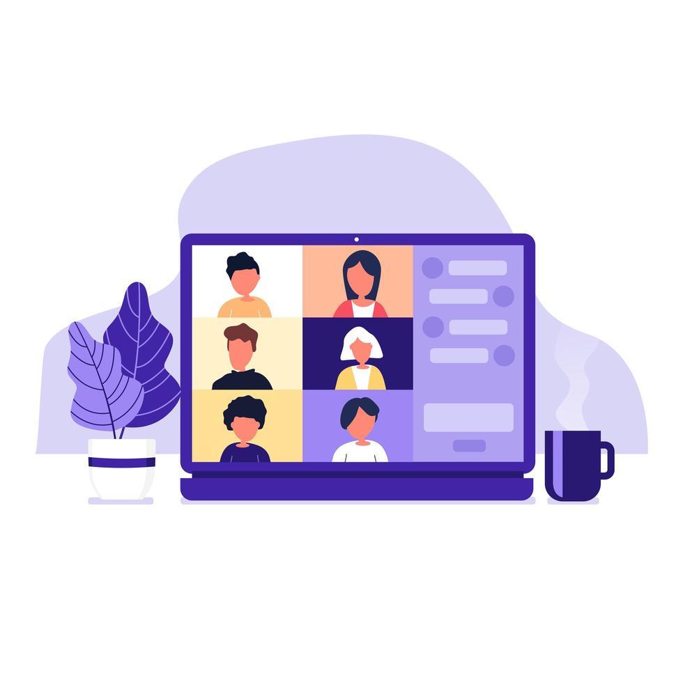collega's praten met elkaar op laptopscherm vector