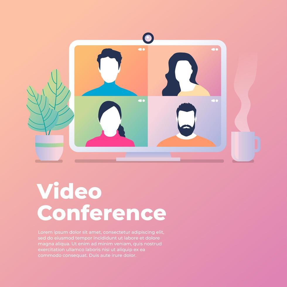 collega's praten op computerscherm vector