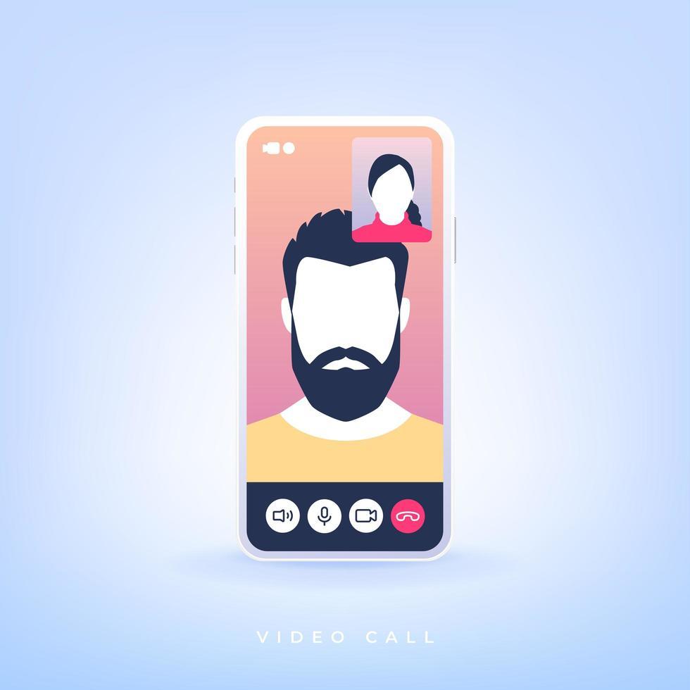 videogesprek op een smartphone vector