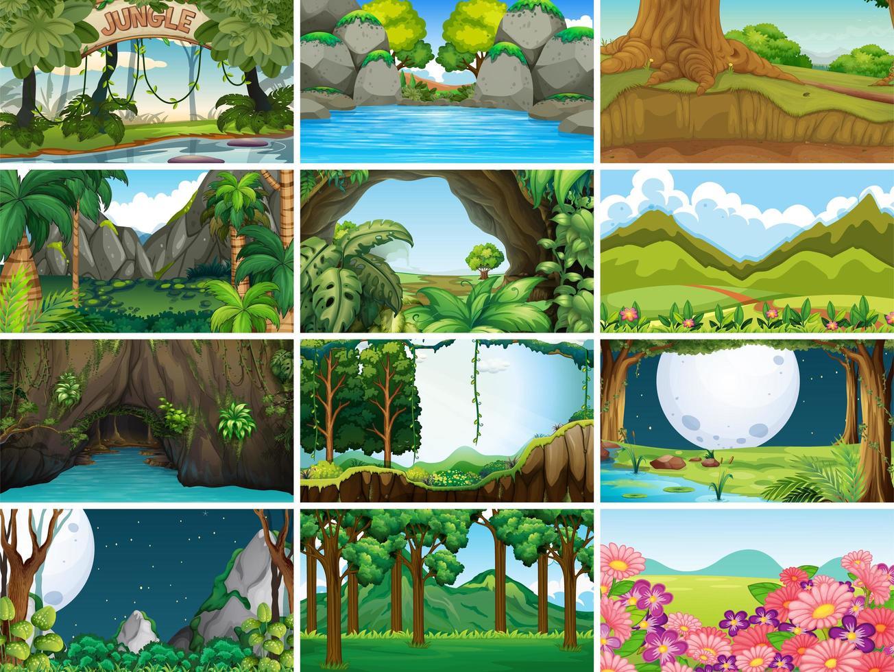 lege landschap natuur scènes instellen vector