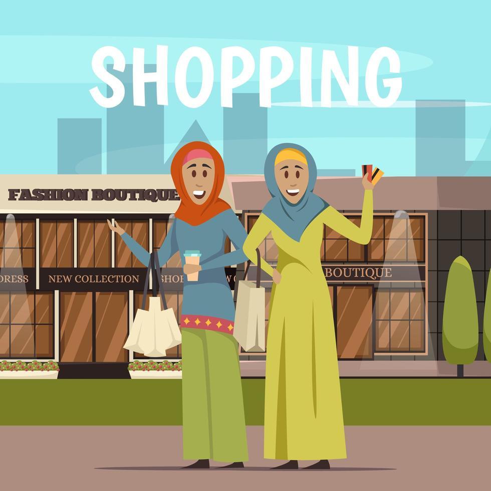 vrouwen uit het Midden-Oosten winkelen vector
