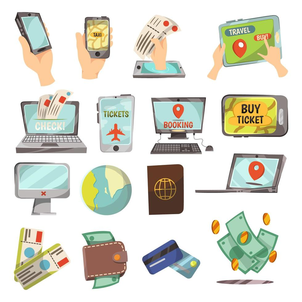 on-line boekingsdiensten icon set vector