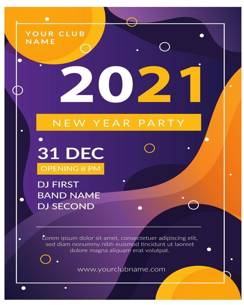 bewerkbare poster voor het vieren van nieuwjaarsclubfeest vector