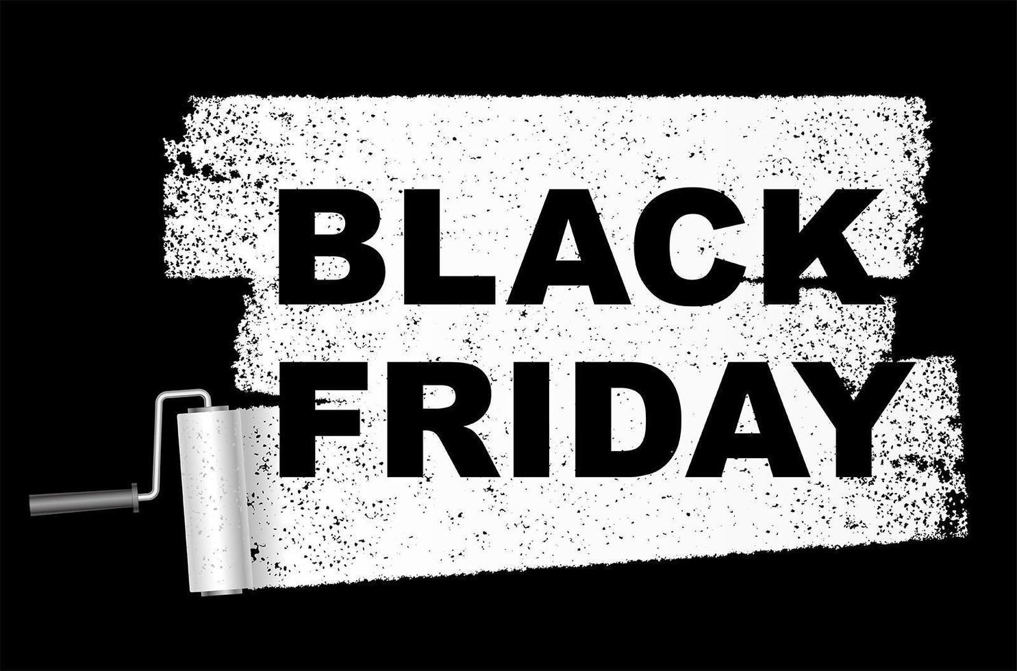 zwarte vrijdag verkoop banner met verfroller vector