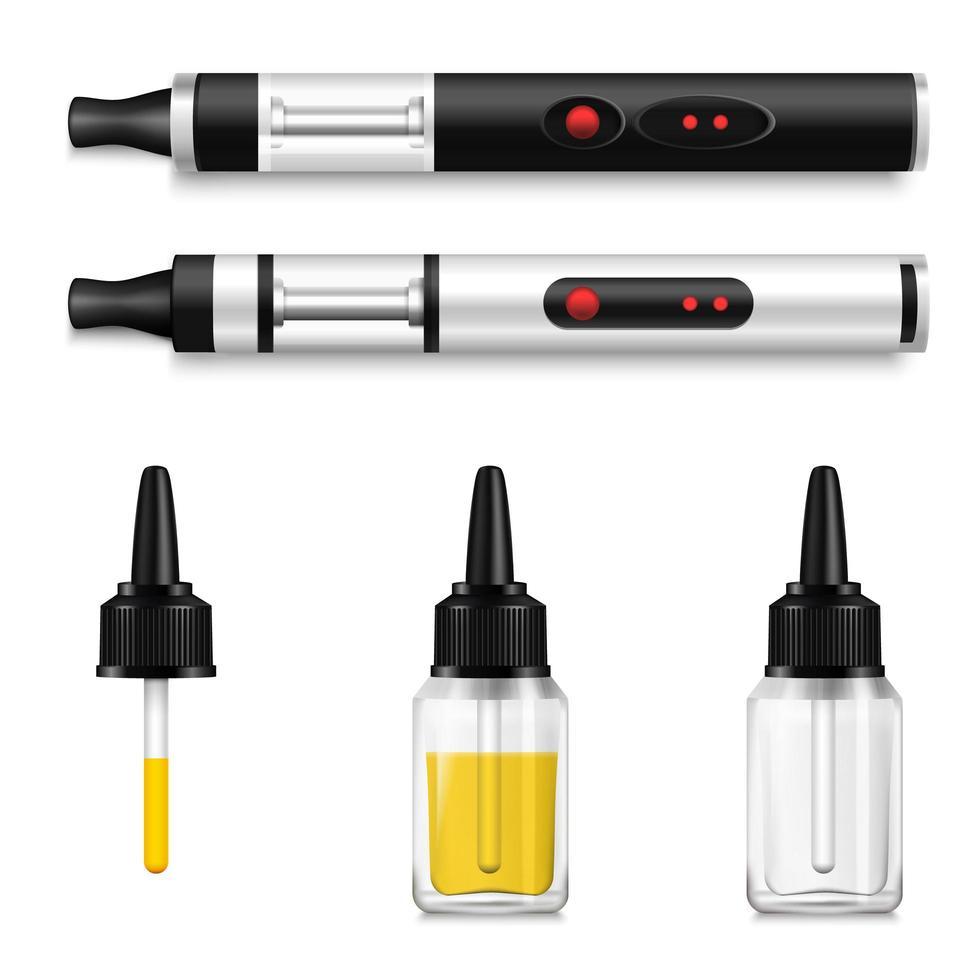 realistische vapenproducten en set elektronische sigaretten vector