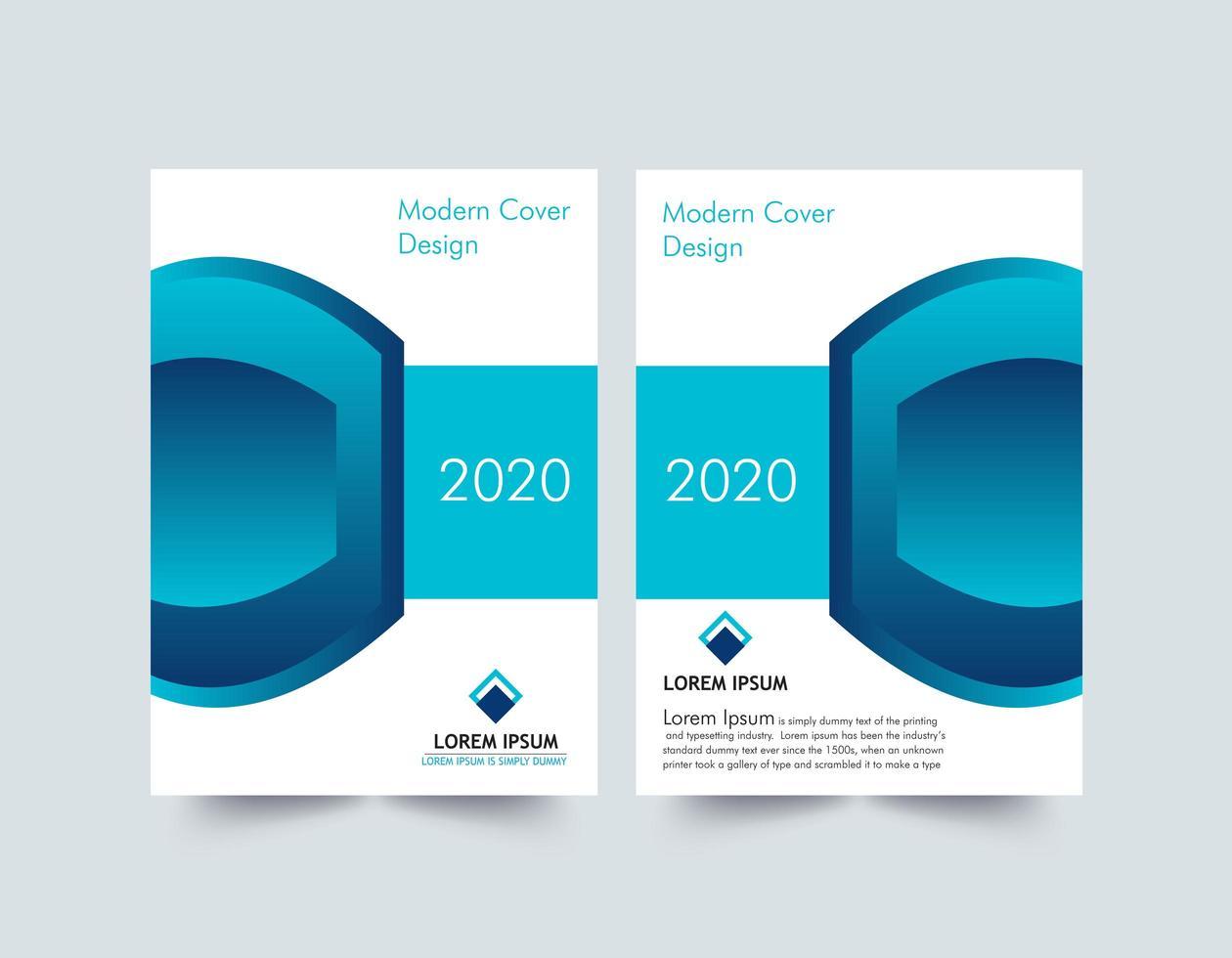 blauw en wit jaarverslag omslaglay-out vector