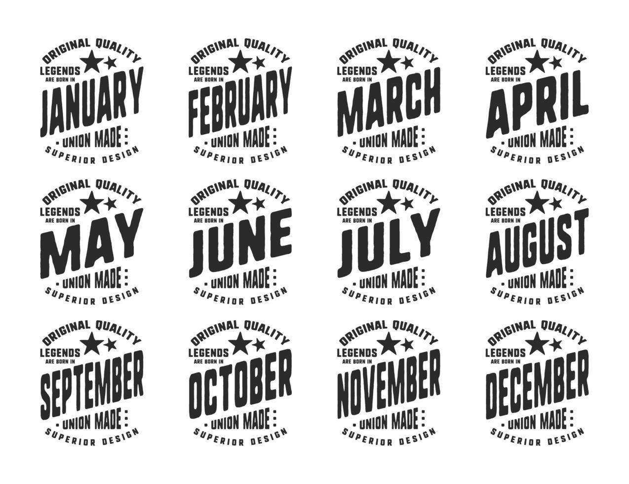legendes zijn geboren verschillende maanden vintage t-shirt typografie vector