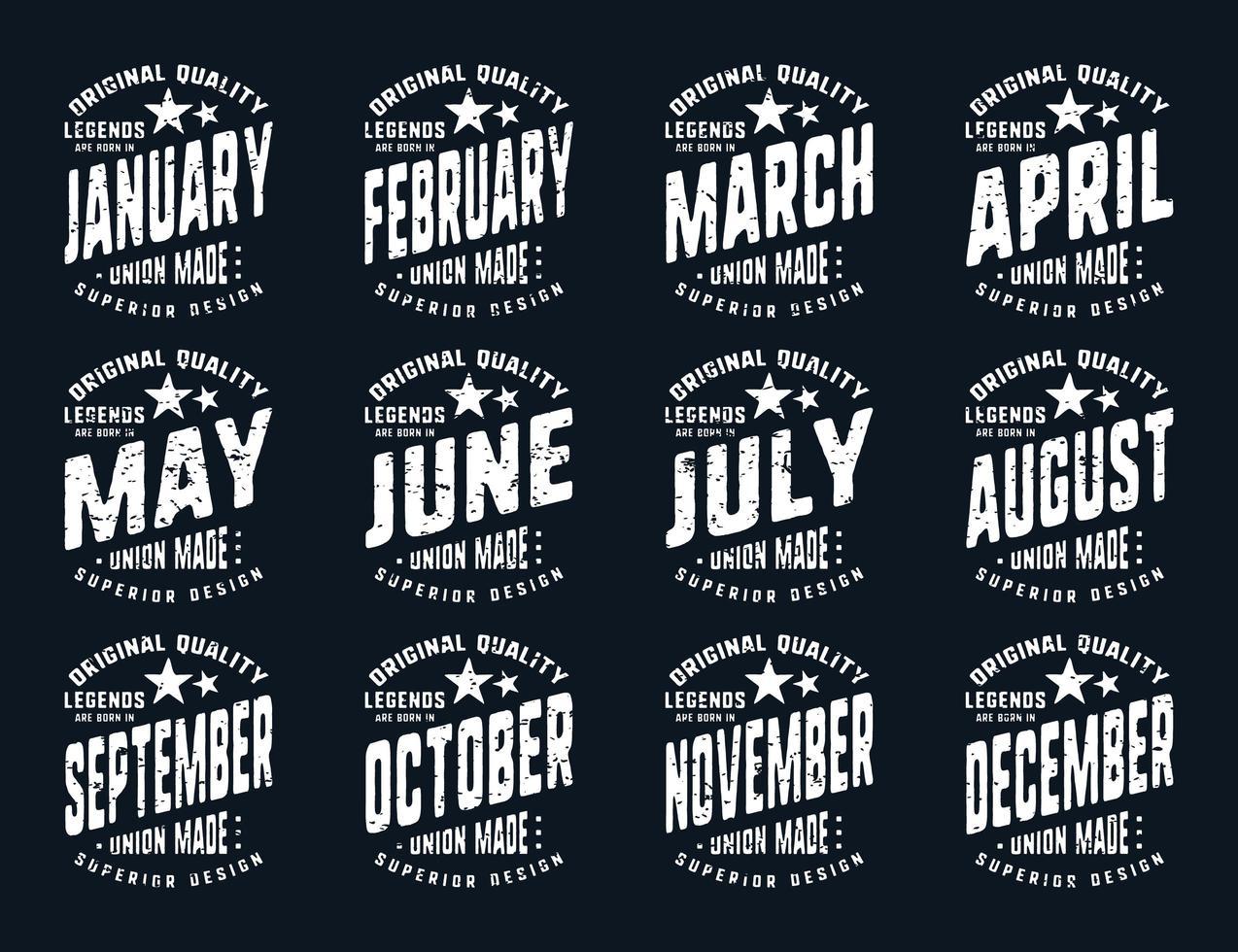 grunge legendes worden geboren verschillende maanden vintage t-shirt typografie vector