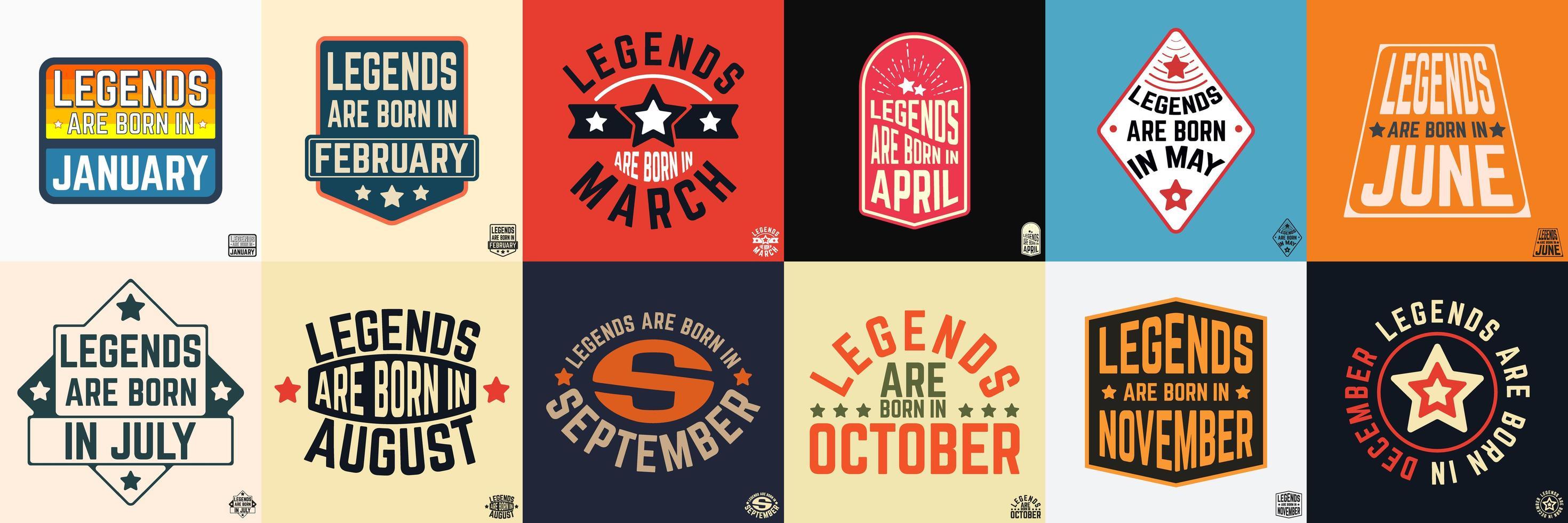legendes worden geboren in verschillende maanden vintage typografie set vector