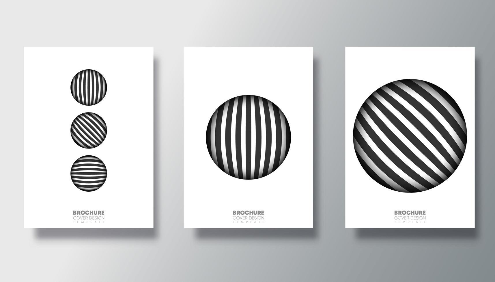 reeks witte achtergronden met gestreepte cirkelontwerpen vector