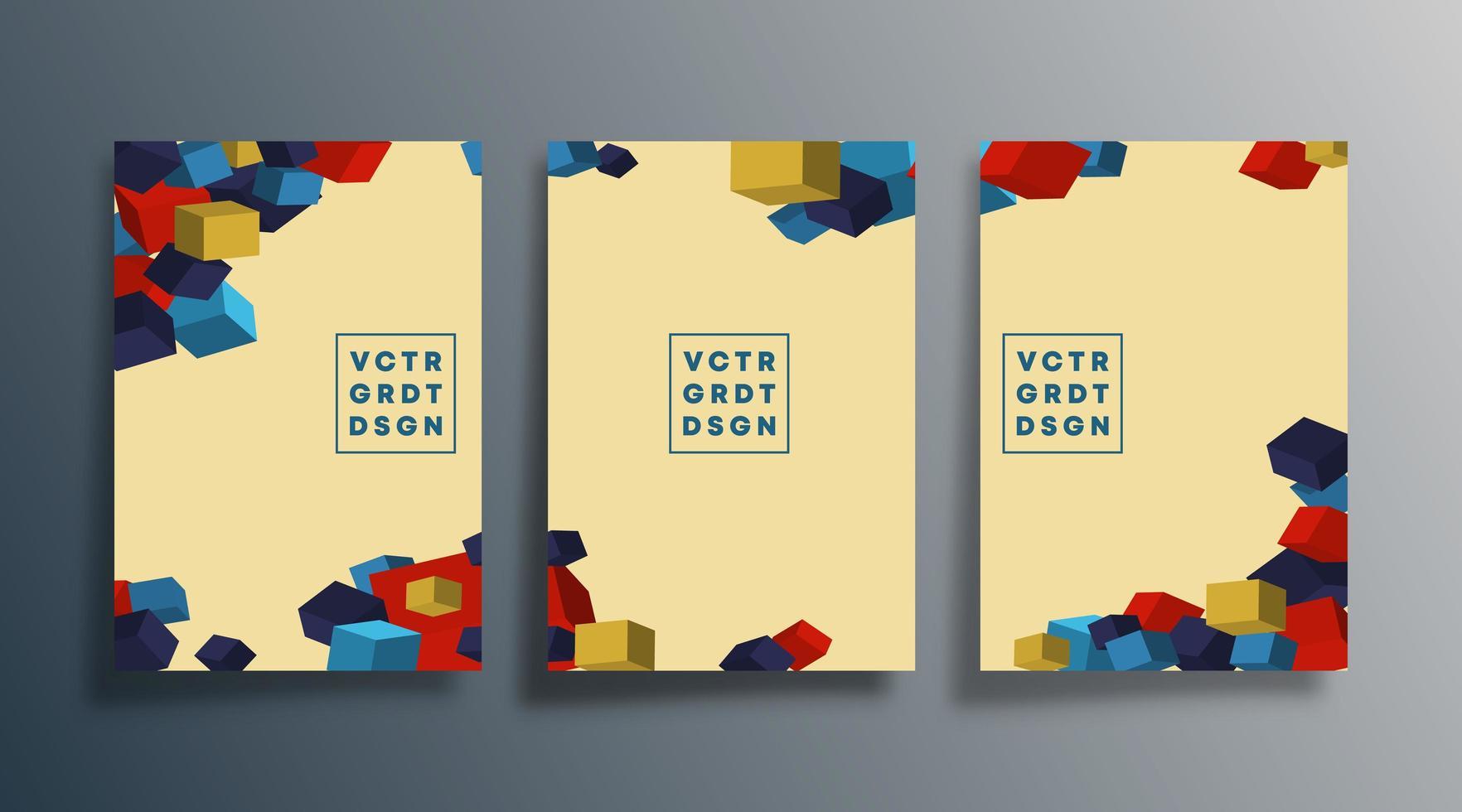 kleurrijke kubusomslagen voor flyer, poster, brochure vector