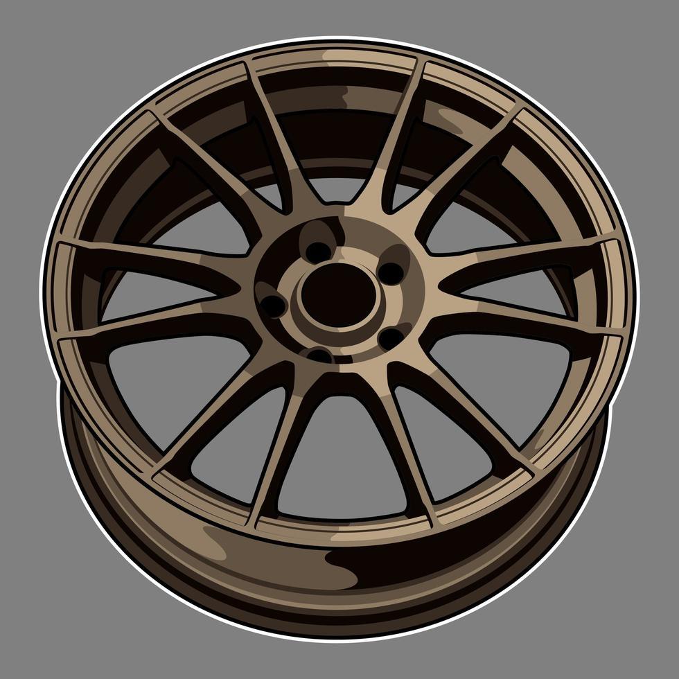 brons kleur auto wiel tekening vector