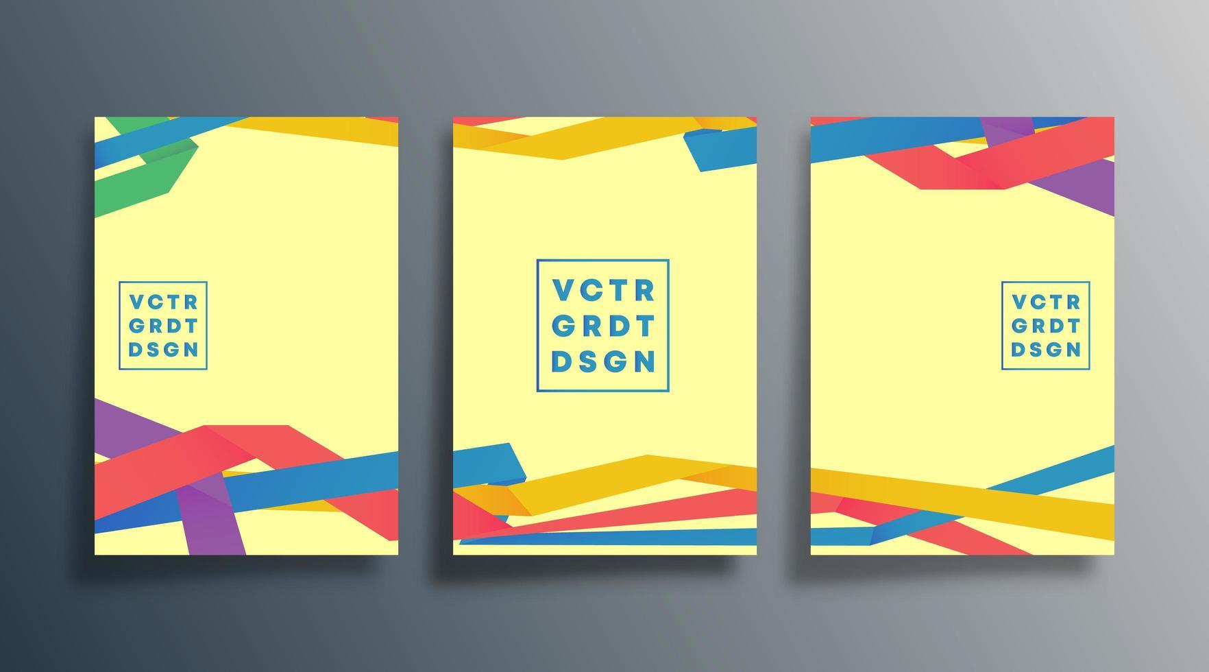 kleurrijke moderne lintontwerpen voor flyer, poster, brochure vector