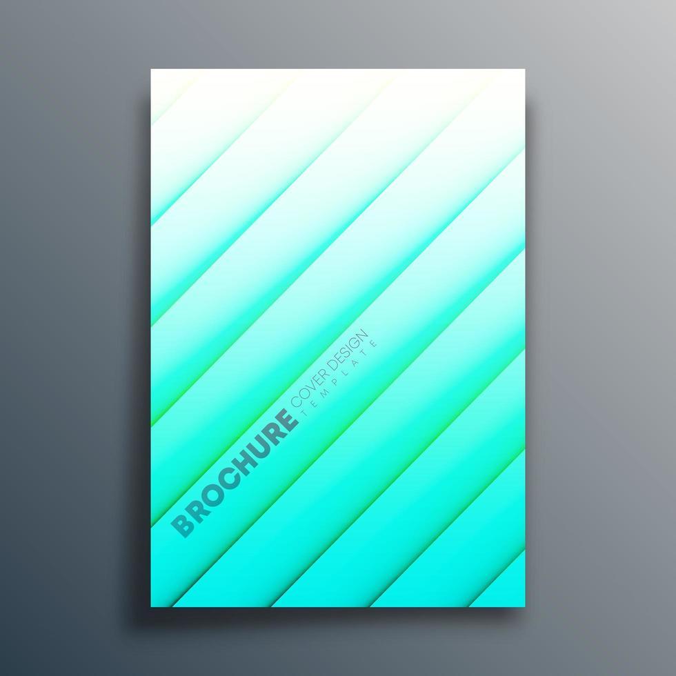 cyaan verloop voorbladsjabloon met diagonale lijnen vector