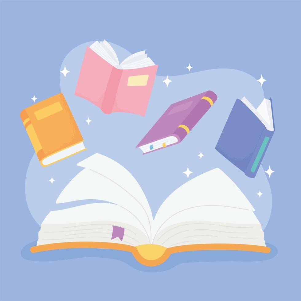 internationale alfabetiseringsdag. literatuur schoolboeken vector