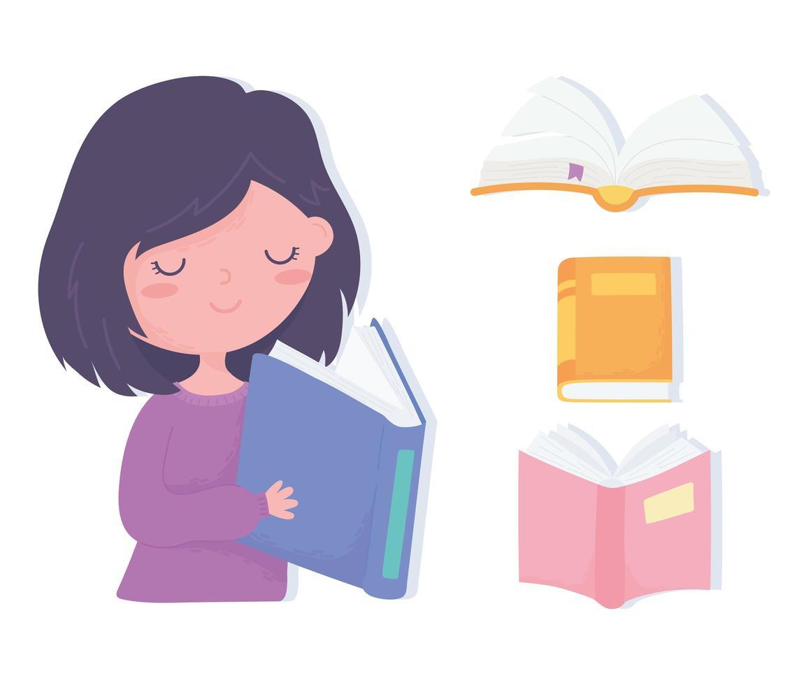 internationale alfabetiseringsdag. schattig klein meisje leesboek vector