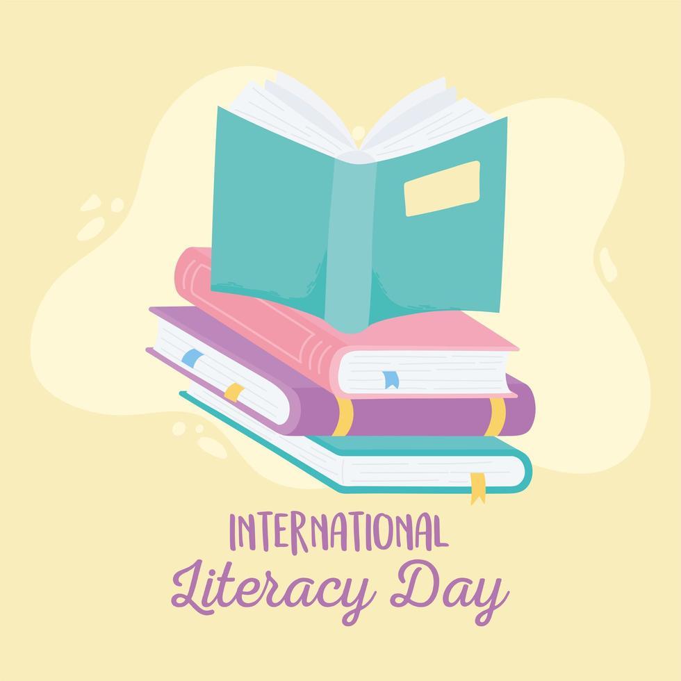 internationale alfabetiseringsdag. open boek op stapel boeken vector