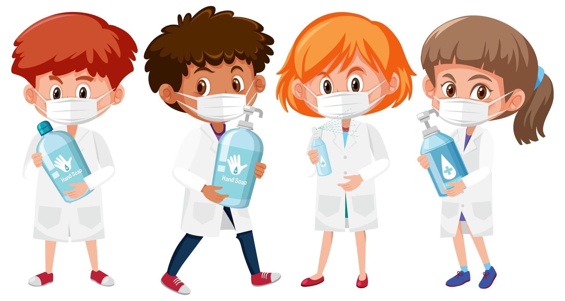 aantal kinderen in artsenuitrusting die handdesinfecterend middel houden vector