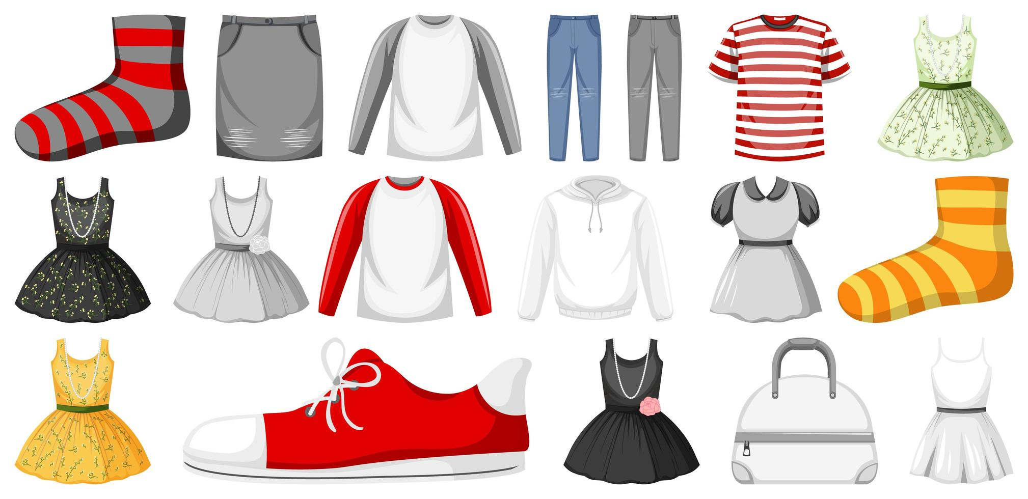 set kleding mock up vector