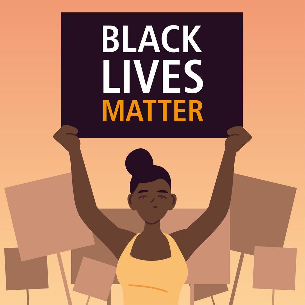 zwarte levens zijn belangrijk banner met vrouw vector
