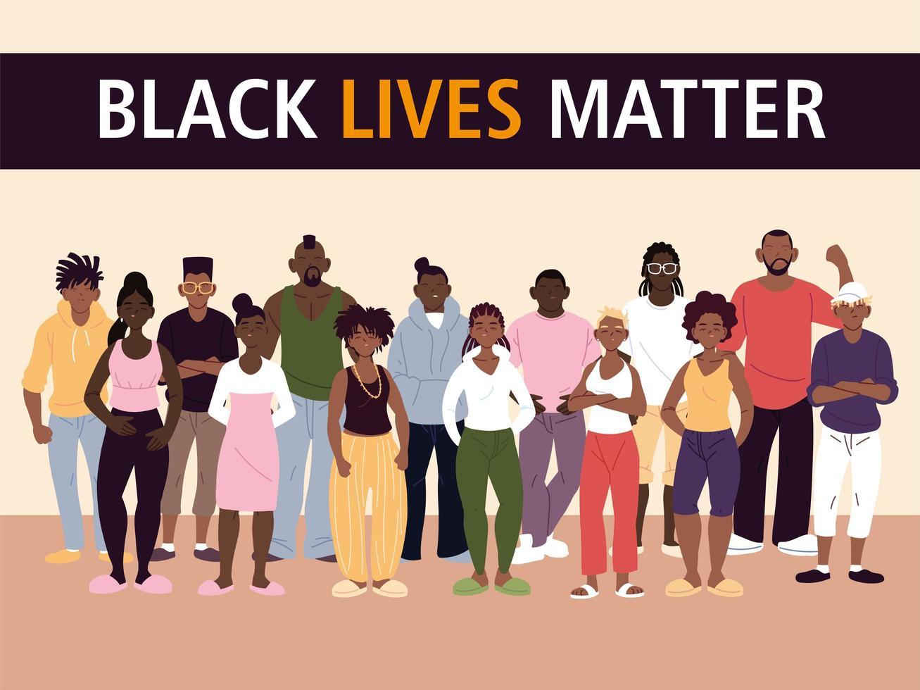 zwarte levens doen ertoe bij vrouwen en mannen vector