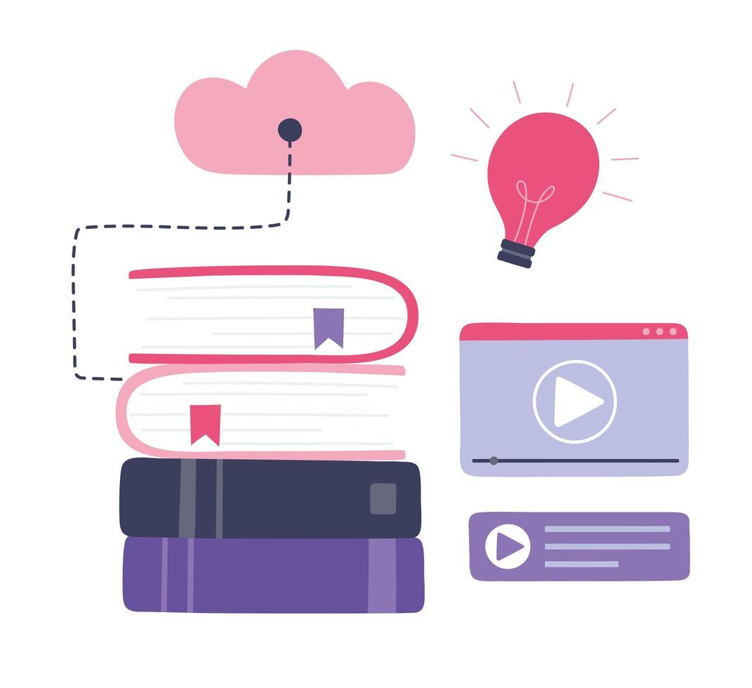 online training. boeken, cloud computing en video-educatie vector