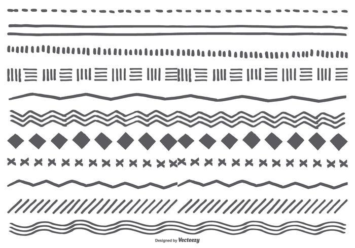 Leuke Hand Getrokken Schetsmatige Borders vector
