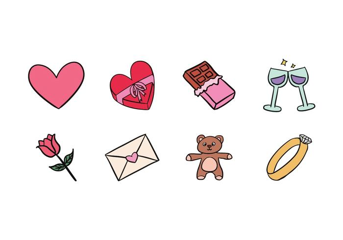 Valentine Doodle Icons vector