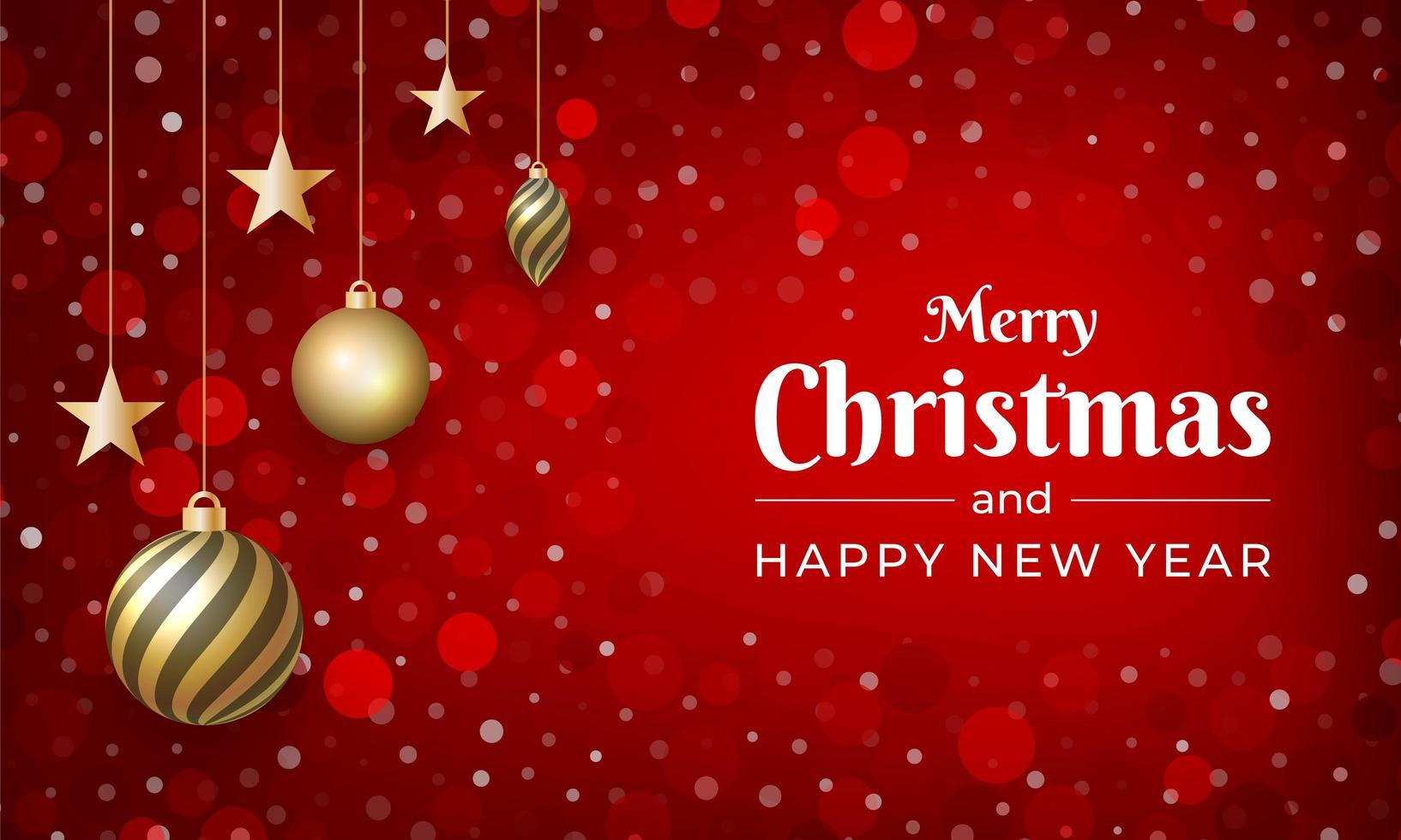 vrolijk kerstfeest met rode kleur en sneeuweffect vector