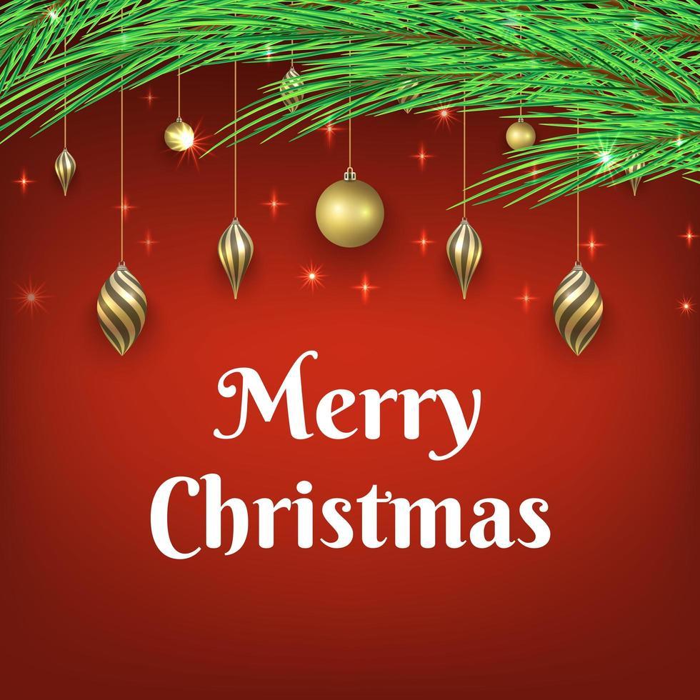 Kerst achtergrond met glanzende ornamenten vector