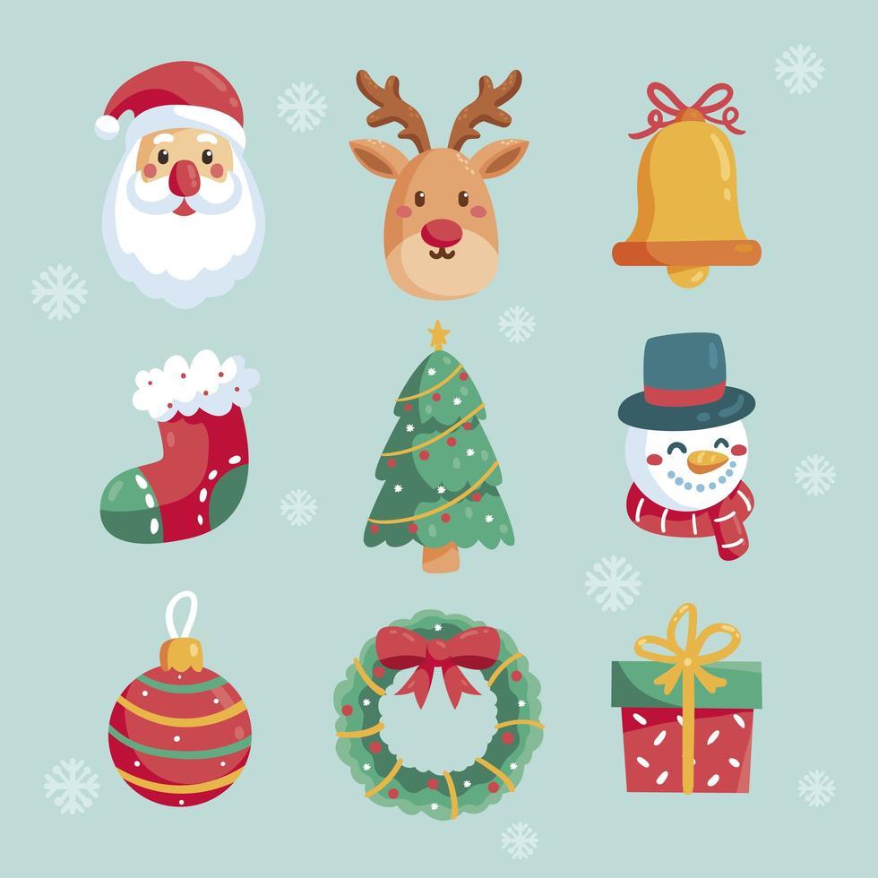 schattige kerst iconen set vector