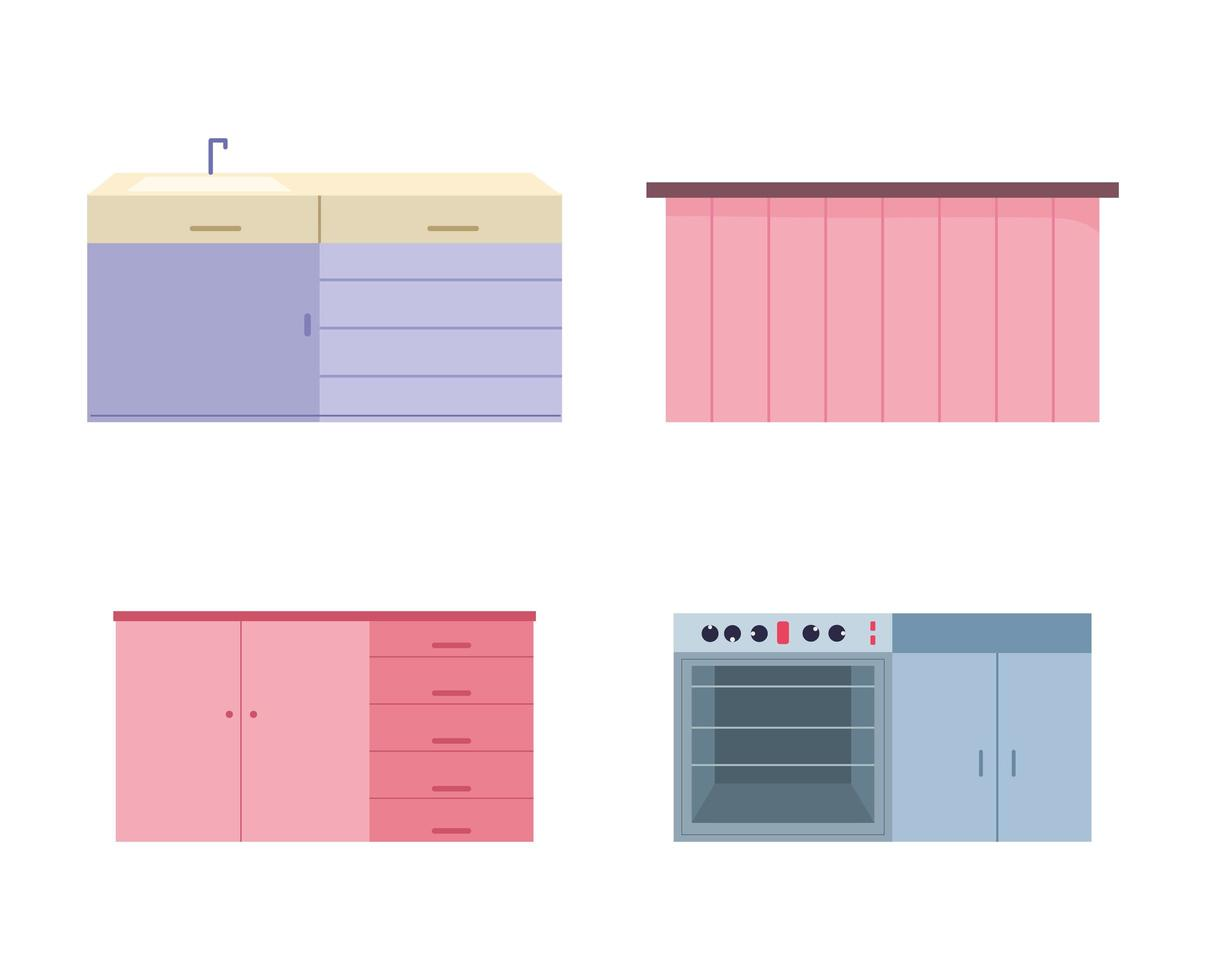 keuken interieur en toestellen pictogramserie vector