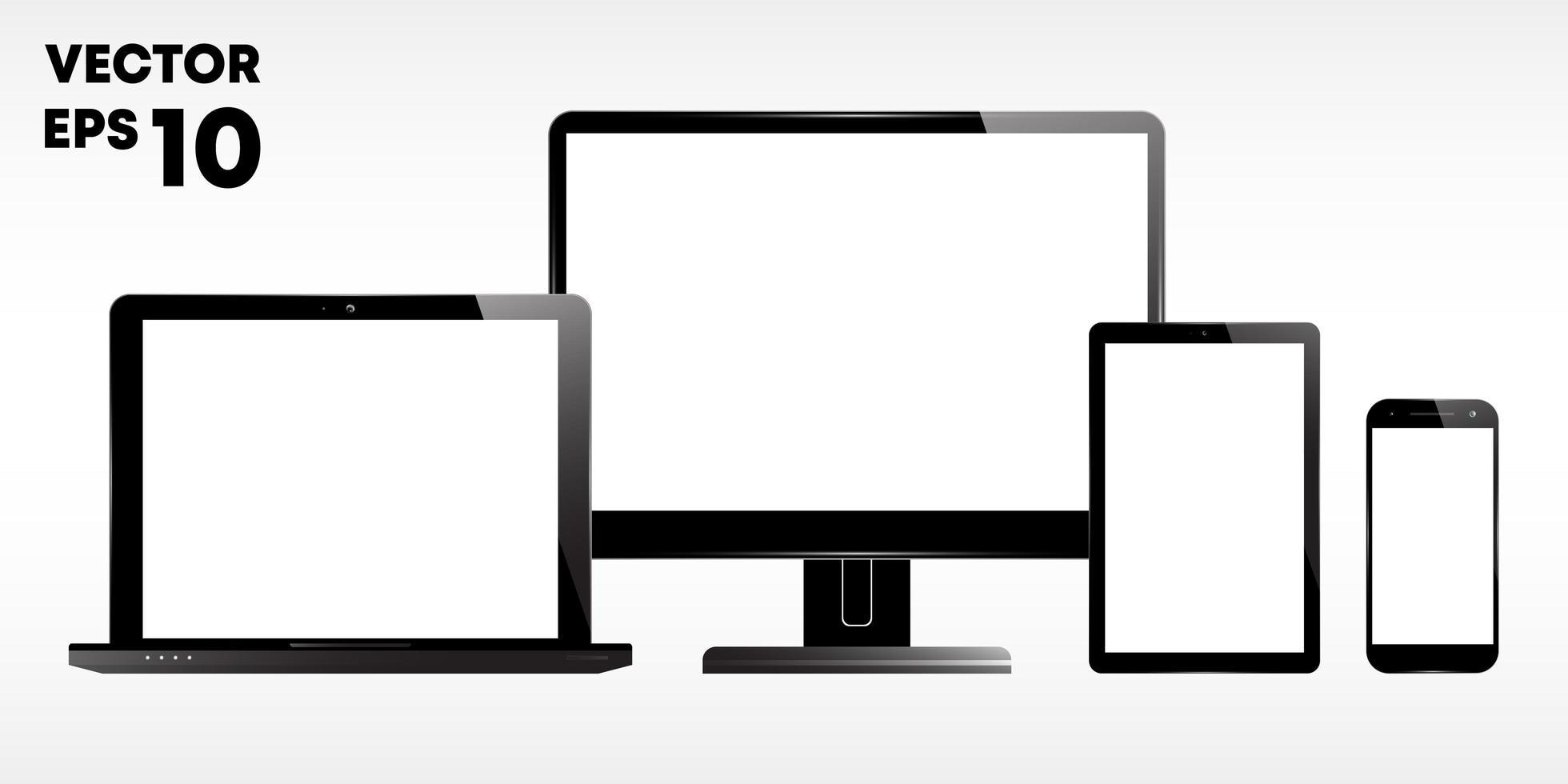 laptop, computermonitor, beeldscherm, tablet en smartphone vector