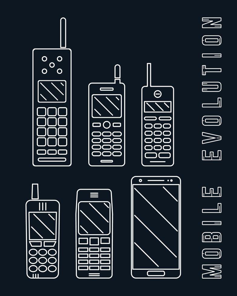 mobiele telefoon. smartphone evolutie lijn ontwerp vector
