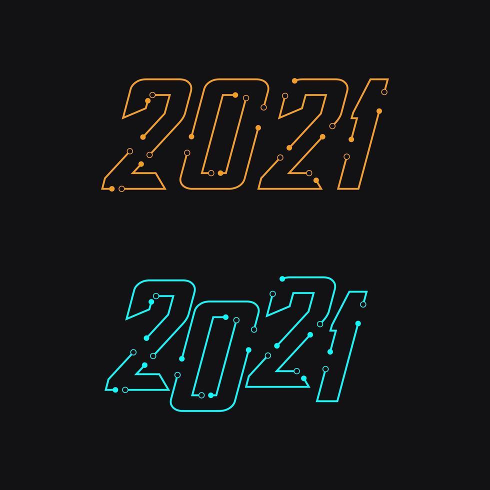2021 sluit de lijnenset vector