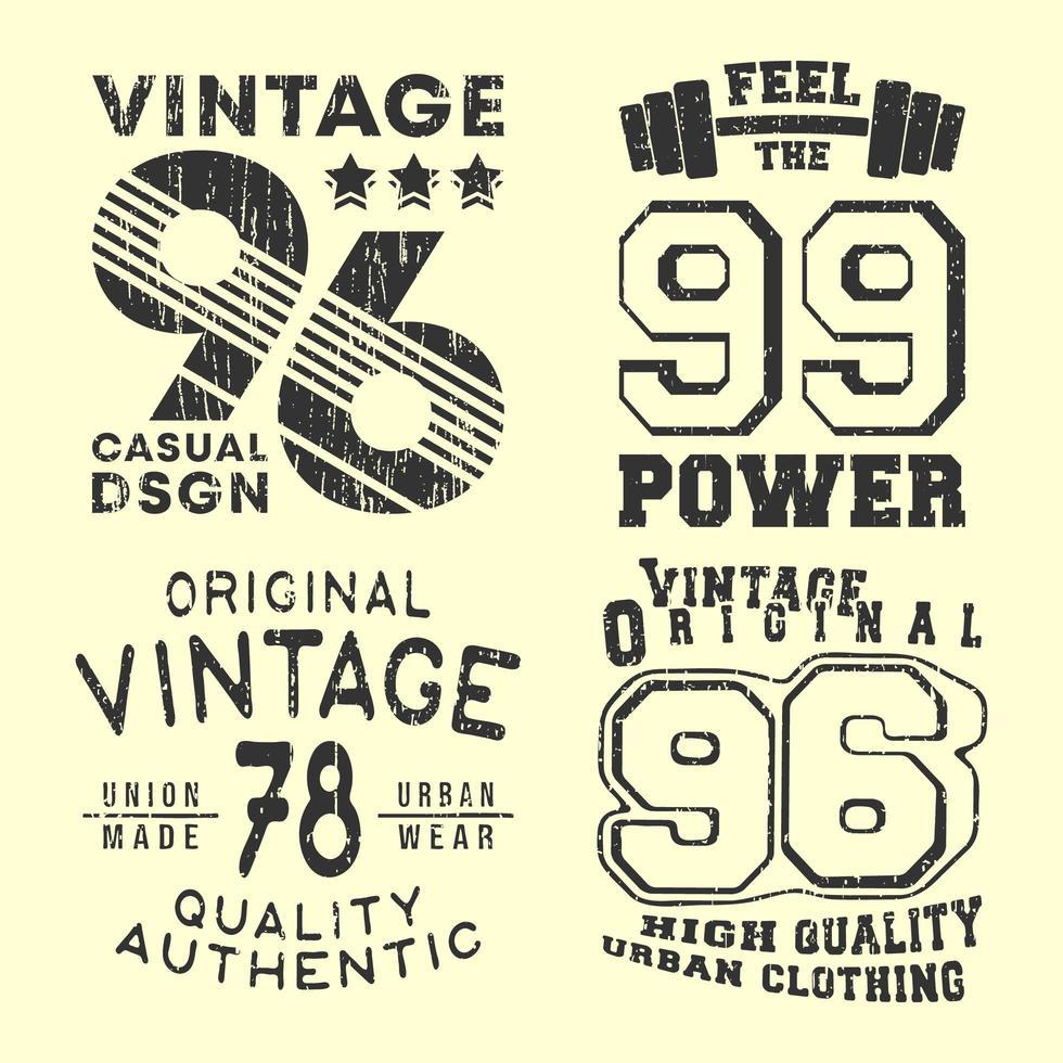 vintage t-shirt print stempel voor t-shirts applique vector